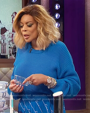 Wendy's blue cropped sweater and skirt on The Wendy Williams Show