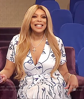 Wendy's printed v-neck dress on The Wendy Williams Show