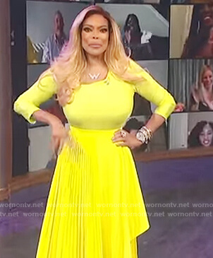 Wendy's yellow asymmetric top and pleated skirt on The Wendy Williams Show