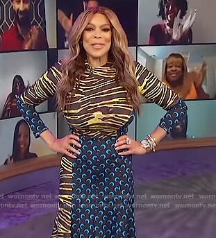 Wendy's yellow zebra stripe top and skirt on The Wendy Williams Show