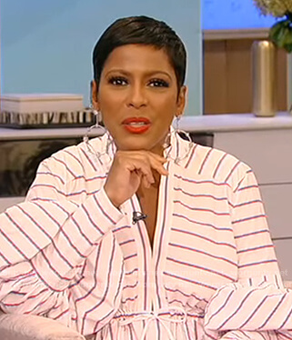 Tamron's white stripe balloon sleeve dress on Tamron Hall Show