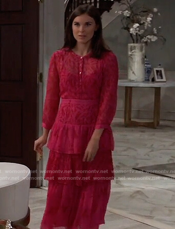 Willow's pink floral tiered dress on General Hospital