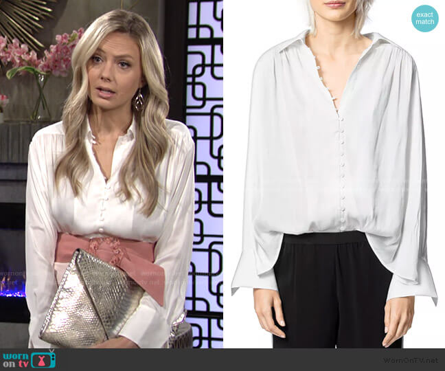 Trent Button-Front Satin Shirt by Zadig & Voltaire worn by Abby Newman (Melissa Ordway) on The Young & the Restless