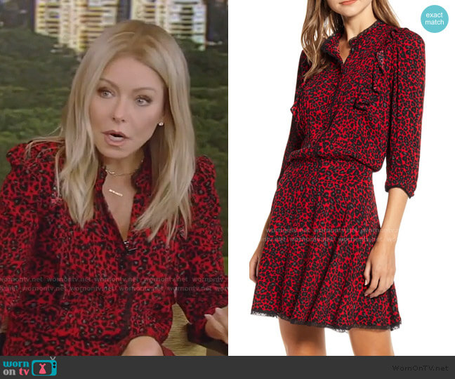 Remo Leopard Print Blouson Shirtdress by Zadig & Voltaire worn by Kelly Ripa  on Live with Kelly & Ryan