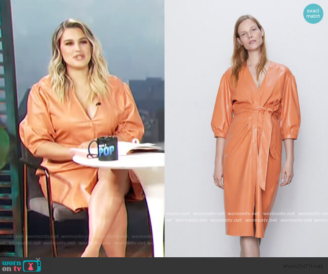 Belted Faux Leather Dress by Zara worn by Carissa Loethen Culiner  on E! News