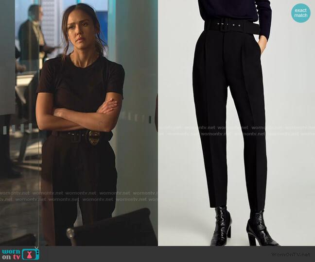 Crepe Trousers with Belt by Zara worn by Nancy McKenna (Jessica Alba) on LA's Finest
