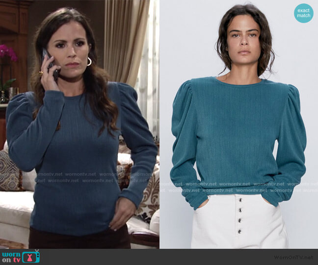 Ribbed Balloon Sleeve Top by Zara worn by Chelsea Lawson (Melissa Claire Egan) on The Young & the Restless