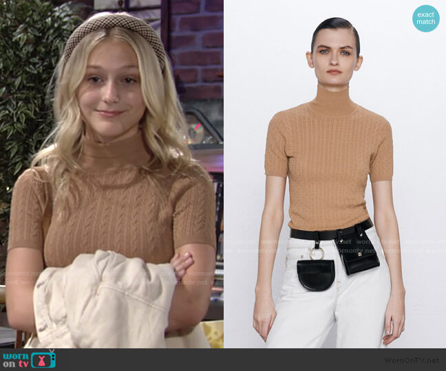 Textured Weave Sweater with Pearl Button by Zara worn by Faith Newman (Alyvia Alyn Lind) on The Young & the Restless