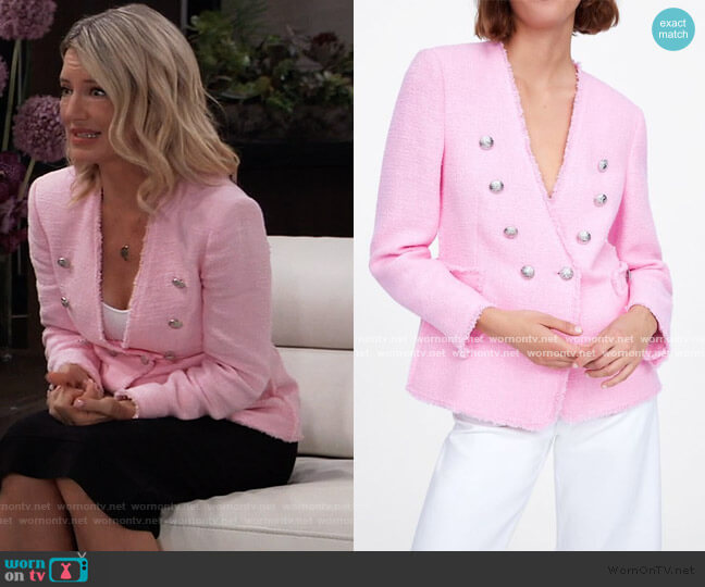 Tweed Jacket with Buttons by Zara worn by Nina Reeves (Cynthia Watros) on General Hospital