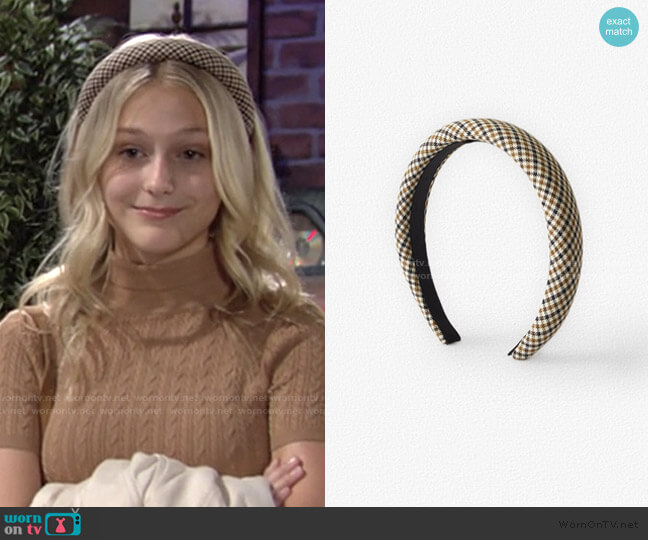 Wide Check Headband by Zara worn by Faith Newman (Alyvia Alyn Lind) on The Young & the Restless