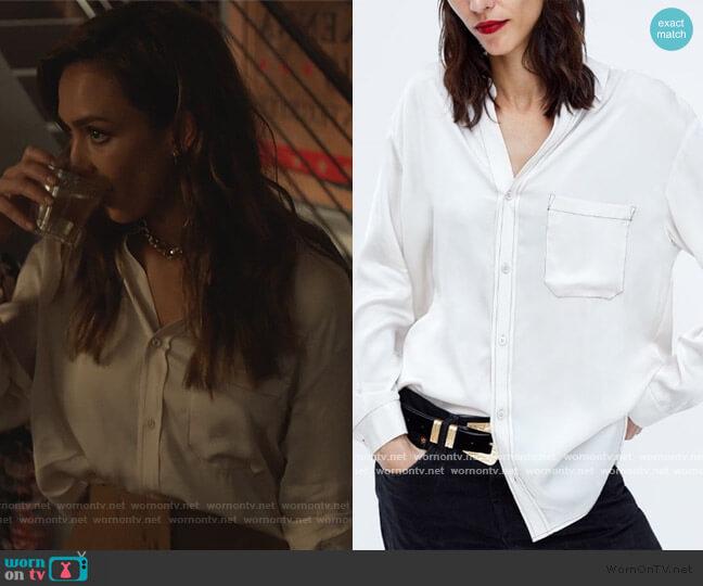 Contrasting Stitch Blouse by Zara worn by Nancy McKenna (Jessica Alba) on LA's Finest