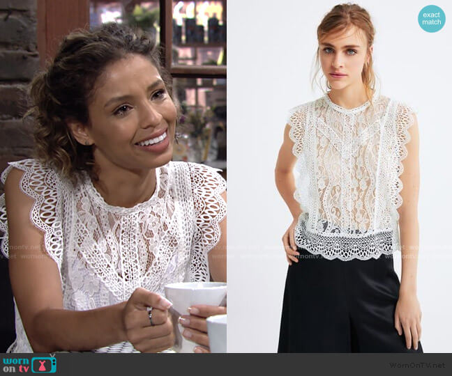 Guipure Lace Top by Zara worn by Elena Dawson (Brytni Sarpy) on The Young & the Restless