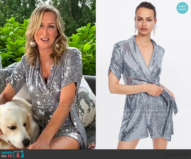 Short Sparkly Jumpsuit by Zara worn by Lara Spencer  on Good Morning America