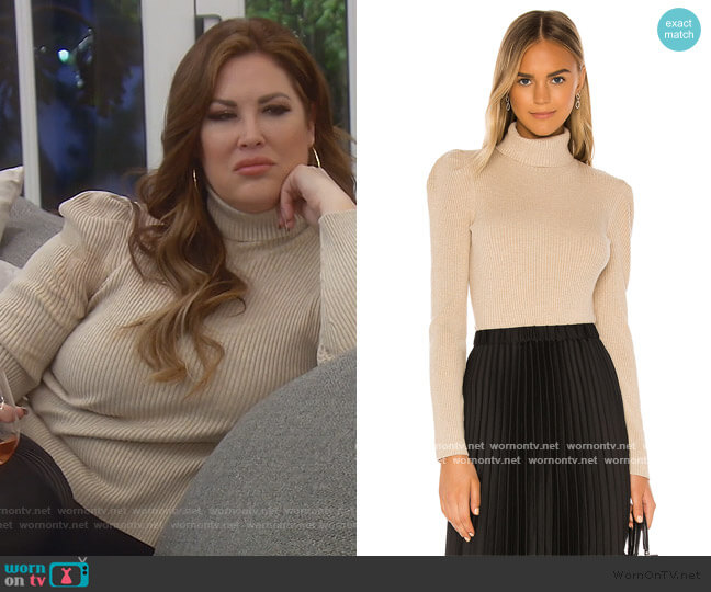 Raglan Sleeve Pearls Beaded Solid Sweater by 525 America worn by Emily Simpson  on The Real Housewives of Orange County