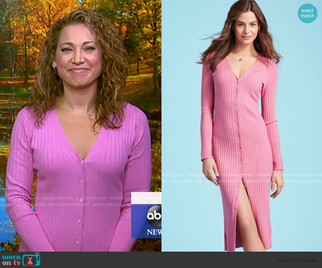Wide Rib Duster Cardigan by 525 America worn by Ginger Zee  on Good Morning America