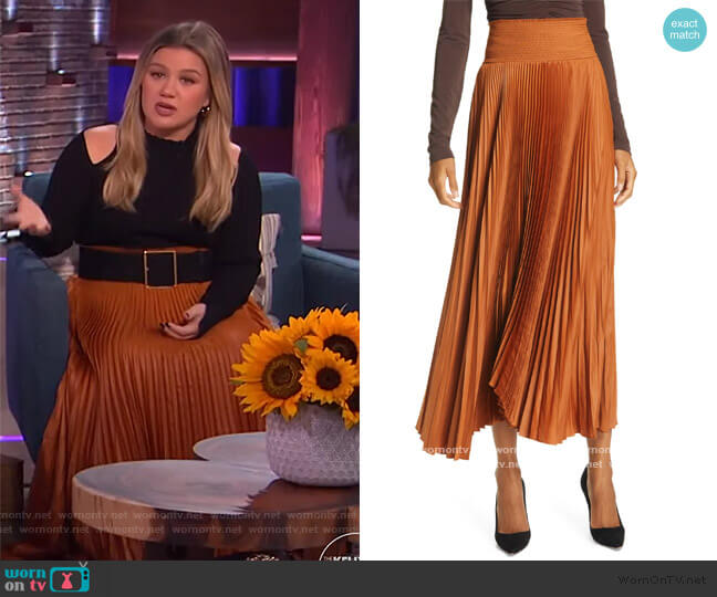 Demi Pleated Skirt by A.L.C. worn by Kelly Clarkson  on The Kelly Clarkson Show