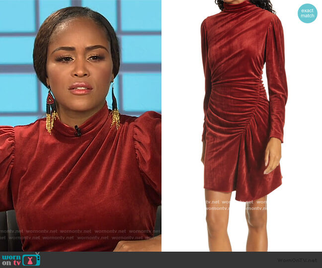 Marcel Long Sleeve Ruched Velvet Minidress by A.L.C. worn by Eve  on The Talk