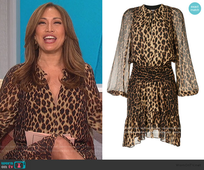 Sidney leopard print silk dress by A.L.C. worn by Carrie Inaba  on The Talk