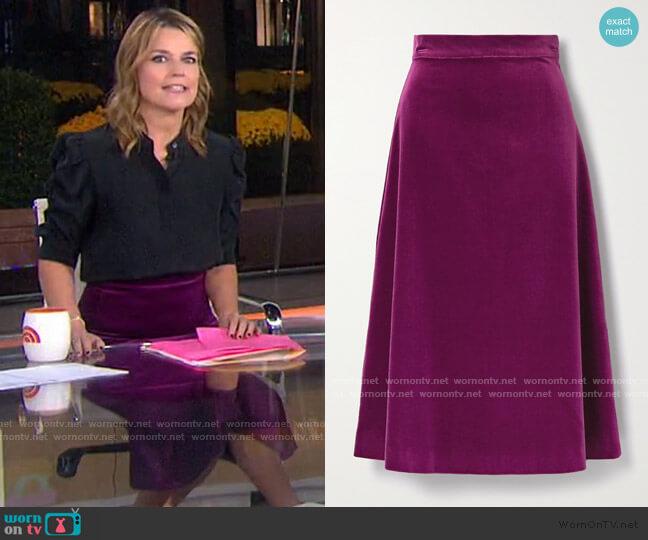 Alma Cotton-Velvet Midi Skirt by ARoss Girl x Soler worn by Savannah Guthrie  on Today