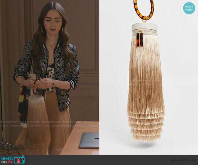 Extreme Fringe Bag with Natural Handle by Asos worn by Emily Cooper (Lily Collins) on Emily in Paris