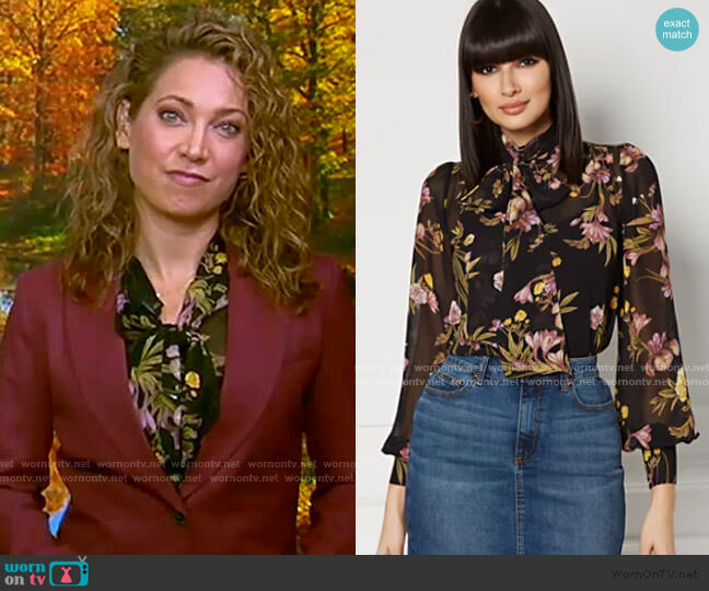 Aspen Bow Blouse - Eva Mendes Collection by New York & Company worn by Ginger Zee  on Good Morning America