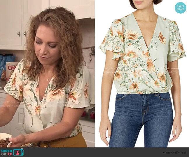 Short Flutter Sleeve Surplice V-Neck Top by ASTR the Label worn by Ginger Zee  on Good Morning America