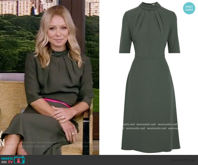 Pleated crepe dress by Adam Lippes worn by Kelly Ripa  on Live with Kelly & Ryan
