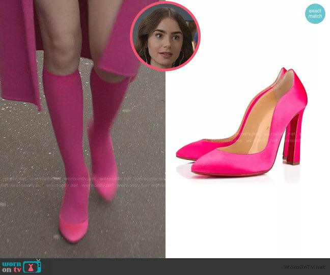 Agneska Pumps by Christian Louboutin worn by Emily Cooper (Lily Collins) on Emily in Paris