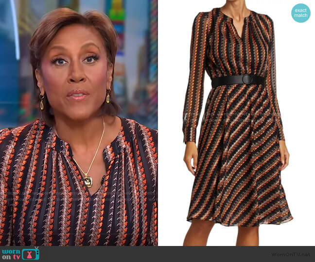 Houndstooth-Printed Crepe Dress by Akris punto worn by Robin Roberts  on Good Morning America