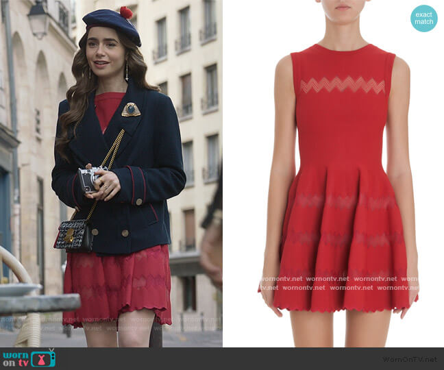 Zig Zag Skirt Dress by Alaia worn by Emily Cooper (Lily Collins) on Emily in Paris