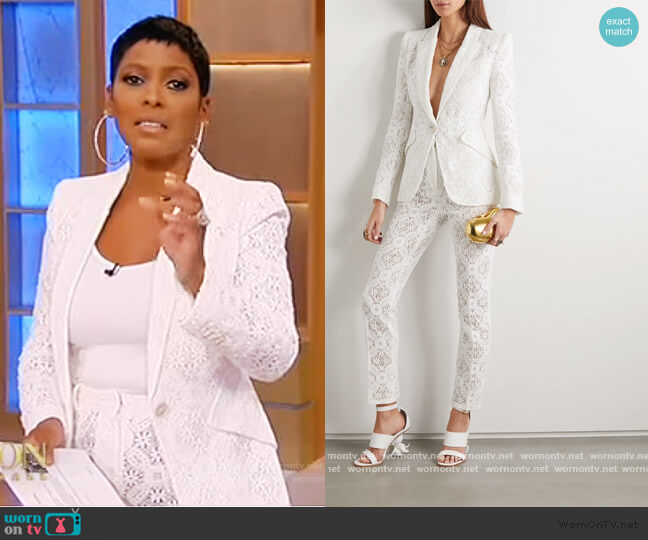 Crochet Lace Jacket and Pants by Alexander McQueen worn by Tamron Hall  on Tamron Hall Show