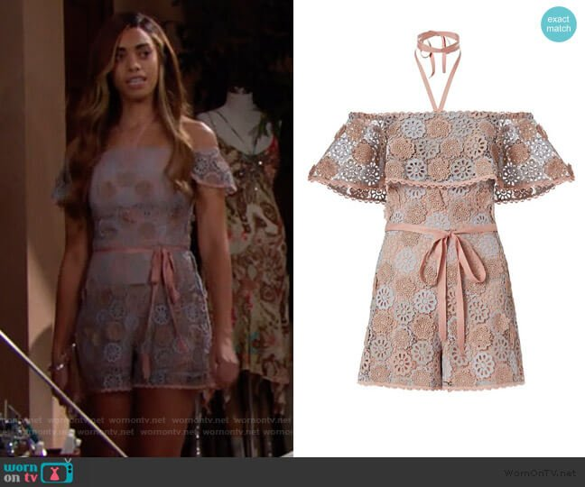Boriana Floral Lace Romper by Alexis worn by Zoe (Kiara Barnes) on The Bold & the Beautiful