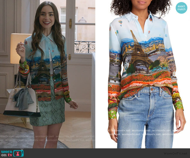 Willa Silk Blouse by Alice + Olivia worn by Emily Cooper (Lily Collins) on Emily in Paris