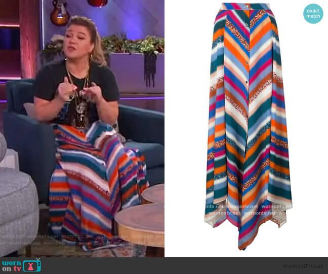 Aquarius striped skirt by Altuzarra worn by Kelly Clarkson  on The Kelly Clarkson Show