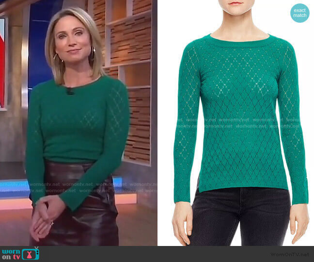 Anabelle Pointelle Sweater by Sandro worn by Amy Robach  on Good Morning America