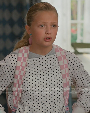Anna's white polka dot hoodie on American Housewife
