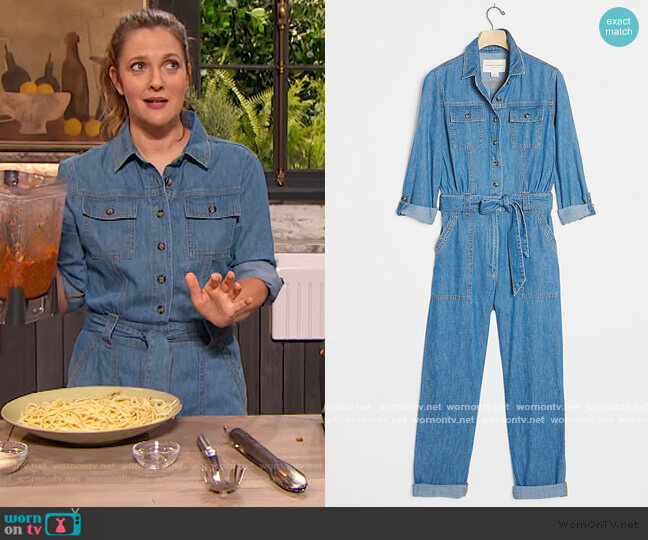 Pilcro Classic Denim Jumpsuit by Anthropologie worn by Drew Barrymore  on The Drew Barrymore Show