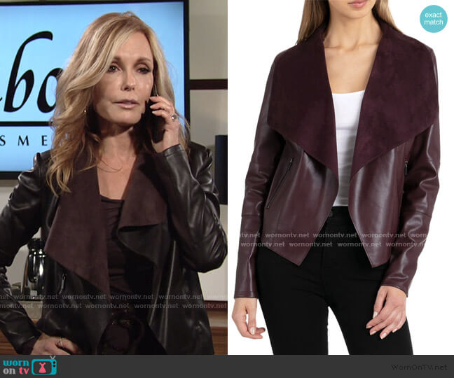 Drape Faux Leather & Faux Suede Jacket by Bagatelle worn by Lauren Fenmore (Tracey Bregman) on The Young & the Restless