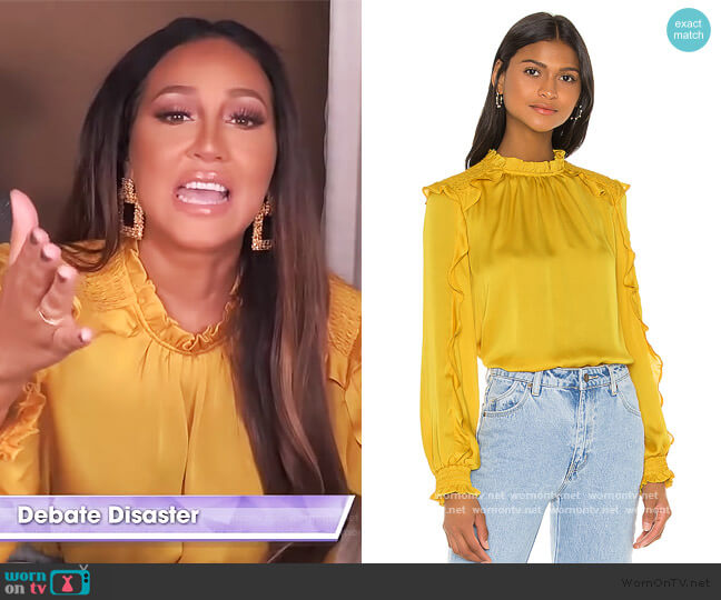 Ruffle Blouse by BCBGMAXAZRIA worn by Adrienne Houghton  on The Real