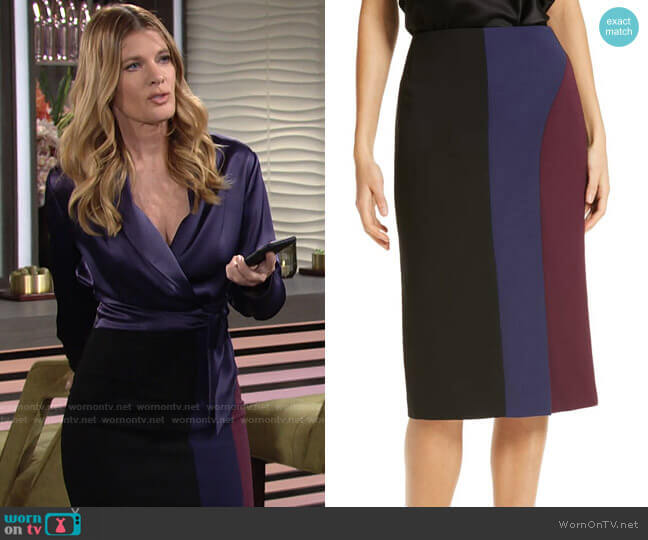 Colorblock Ponte Skirt by Hugo Boss worn by Phyllis Summers (Michelle Stafford) on The Young & the Restless