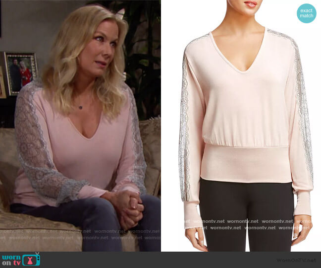 Cora Lace-Trim Top by Bailey 44 worn by Brooke Logan (Katherine Kelly Lang) on The Bold & the Beautiful