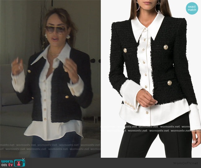 Tweed And Satin Buttoned Jacket by Balmain worn by Kelly Dodd  on The Real Housewives of Orange County