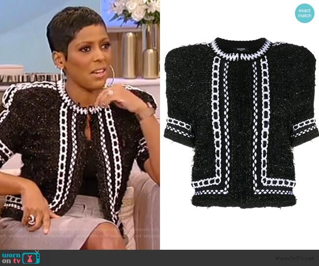 Cropped Tweed Mesh Jacket by Balmain worn by Tamron Hall  on Tamron Hall Show