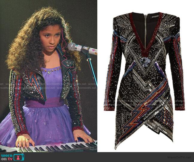 Custom designed with Balmain fabric worn by Julie (Madison Reyes) on Julie & the Phantoms