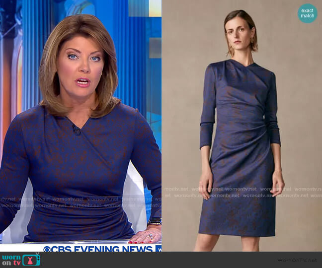 Belgravia Dress by The Fold London worn by Norah O'Donnell  on CBS Evening News