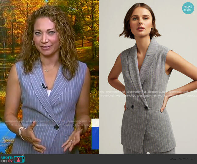 Belted Vest in Linen by Argent worn by Ginger Zee  on Good Morning America