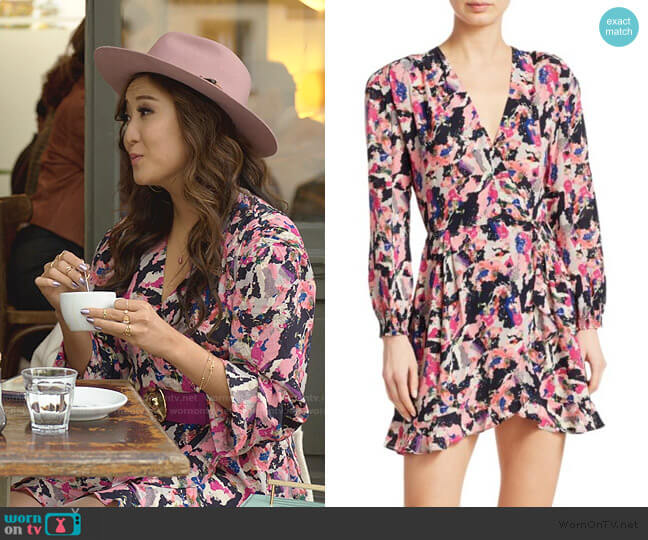 Bloomy Printed Wrap Dress by Iro worn by Mindy Chen (Ashley Park) on Emily in Paris