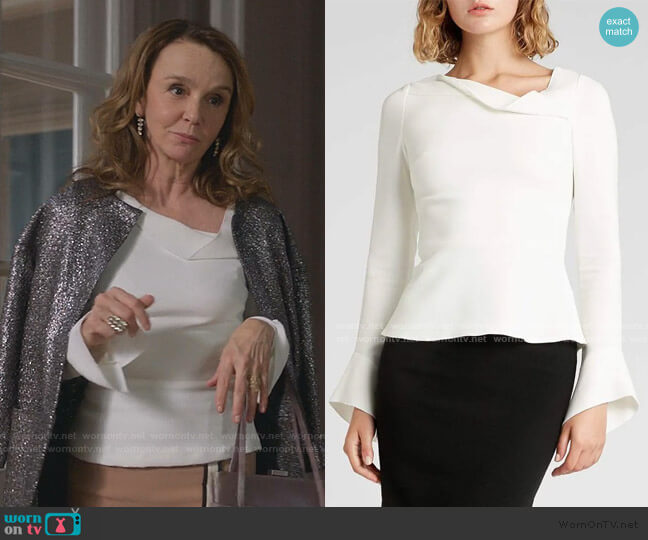Boronia Top by Roland Mouret worn by Sylvie (Philippine Leroy-Beaulieu) on Emily in Paris