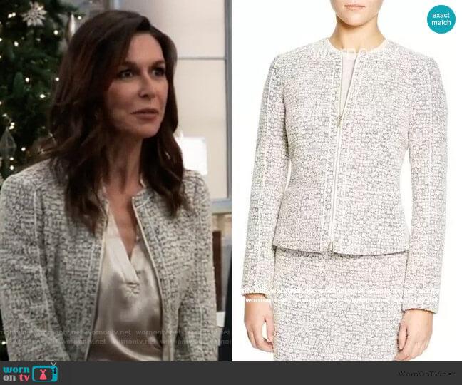 Gray Tweed Jacket by BOSS worn by Anna Devane (Finola Hughes) on General Hospital