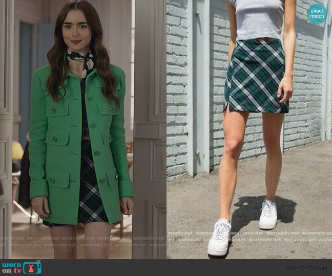 Green Plaid Skirt by Brandy Melville worn by Emily Cooper (Lily Collins) on Emily in Paris